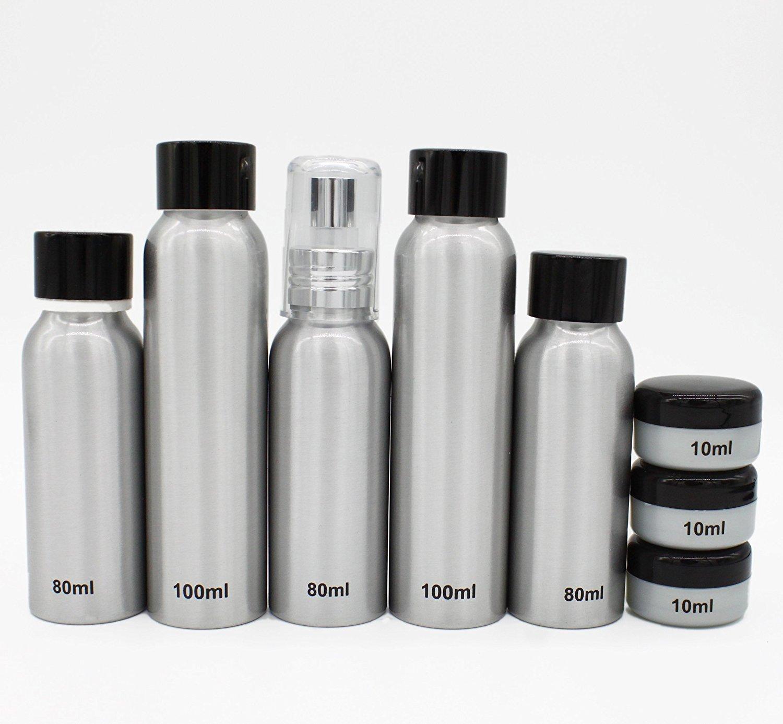 Travel Bottles Set Aluminum Bottle Set TSA Approved (Rose Red) smartrip