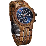 JORD Wooden Wrist Watches for Men - Conway Series Chronograph / Wood and Metal Watch Band / Wood Bezel / Analog Quartz Movement - Includes Wood Watch Box (Kosso & Midnight Blue)