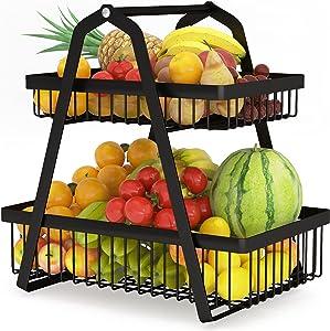 2 Tier Fruit Basket, 1Easylife Large Fruit Basket Bowl Vegetables Display Stand, Detachable Wire Fruits Breads Snacks Stackable Basket, Countertop Metal Storage Organizer Kitchen Fruit Holder