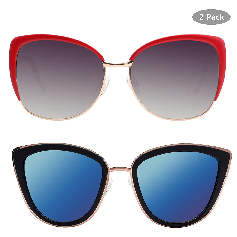 dbbbfcebdb Amazon.com  VIVIENFANG Color Mirrored Oversized Cateye Sunglasses Fashion  Polarized Shades For Women P1891+86447  Clothing