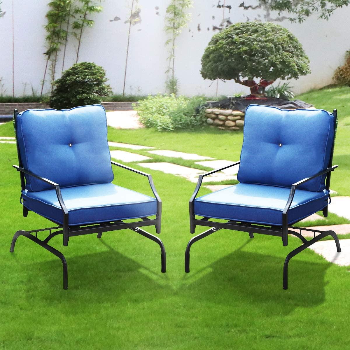 Rocking Patio Chair Outdoor Set of 2, Metal Patio Chairs with Elasticity Seat Cushions and Black Metal Frame Patio Bistro Dining Chairs Sets for Garden, Backyard and Bistro Lawn,Blue