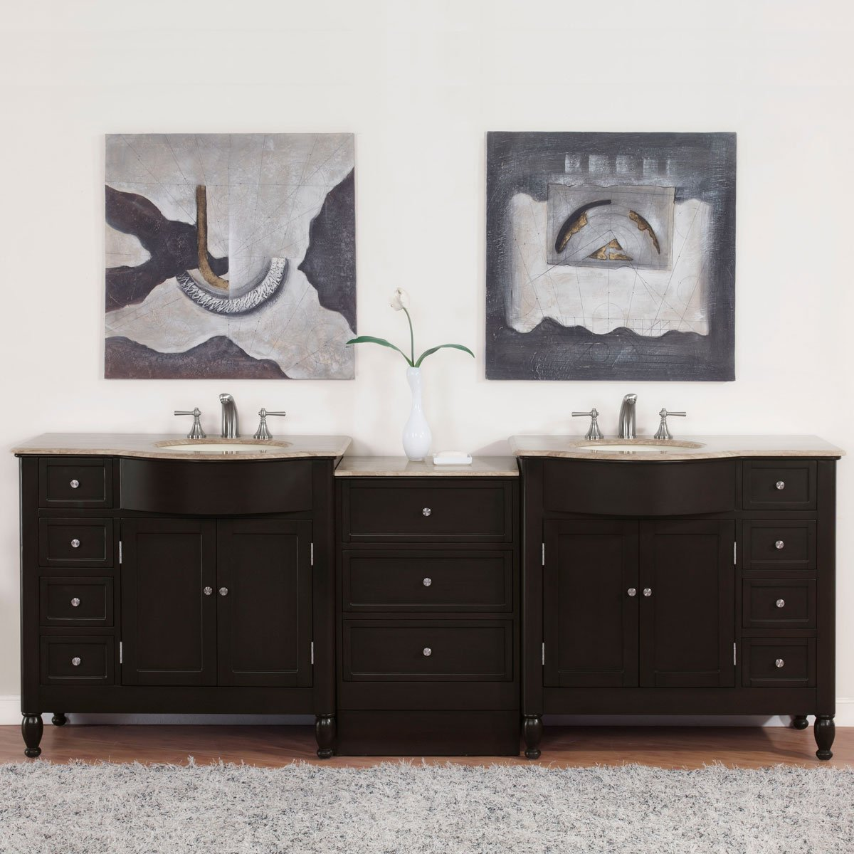 Silkroad Exclusive Countertop Travertine Double Sink Bathroom Vanity with Cabinet, 95-Inch by Silkroad Exclusive