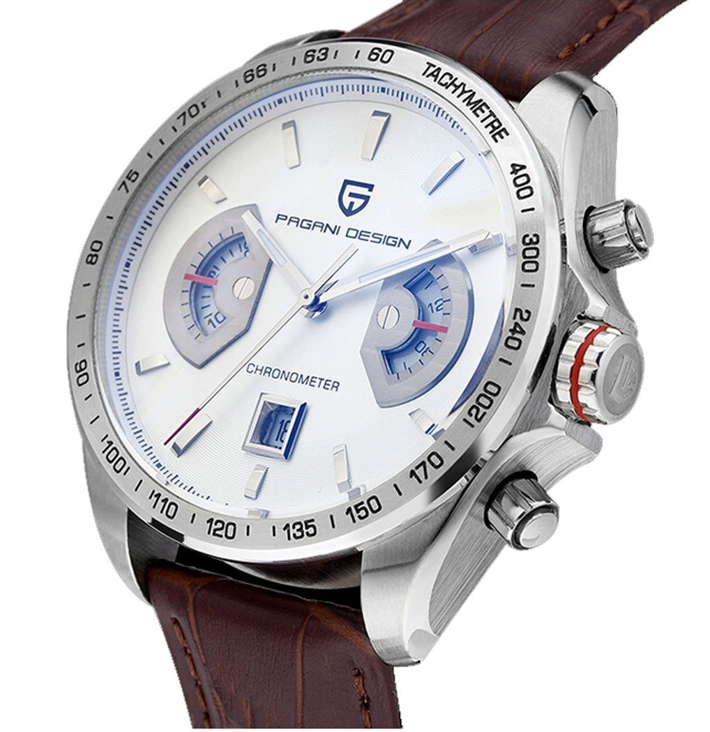 Pagani Design Racing Chronograph Mens Sports Watches White Dial Tachymetre Brown Leather Silver Watch