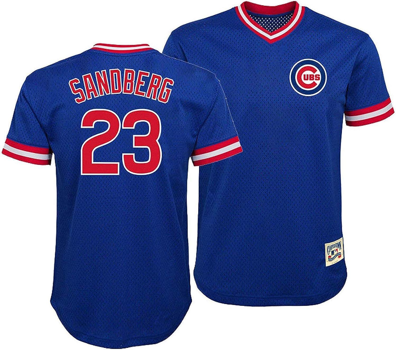 Ryne Sandberg Chicago Cubs Blue Youth Cooperstown V-Neck Mesh Jersey