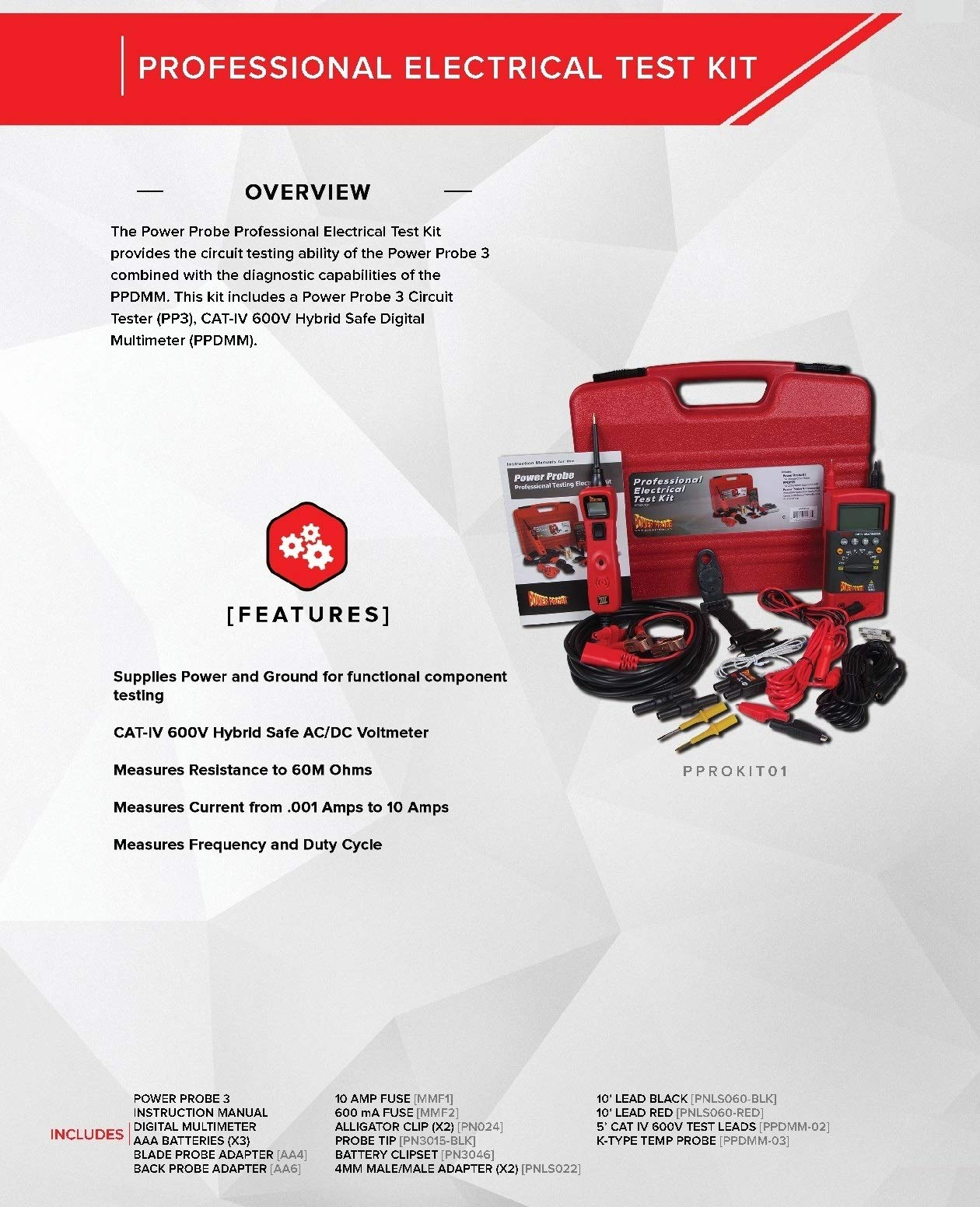 Power Probe Professional Electrical Test Kit - Red (PPROKIT01) Inc III w/PPDMM & Accessories [Measures Resistance, Current & Frequency] by Power Probe (Image #2)
