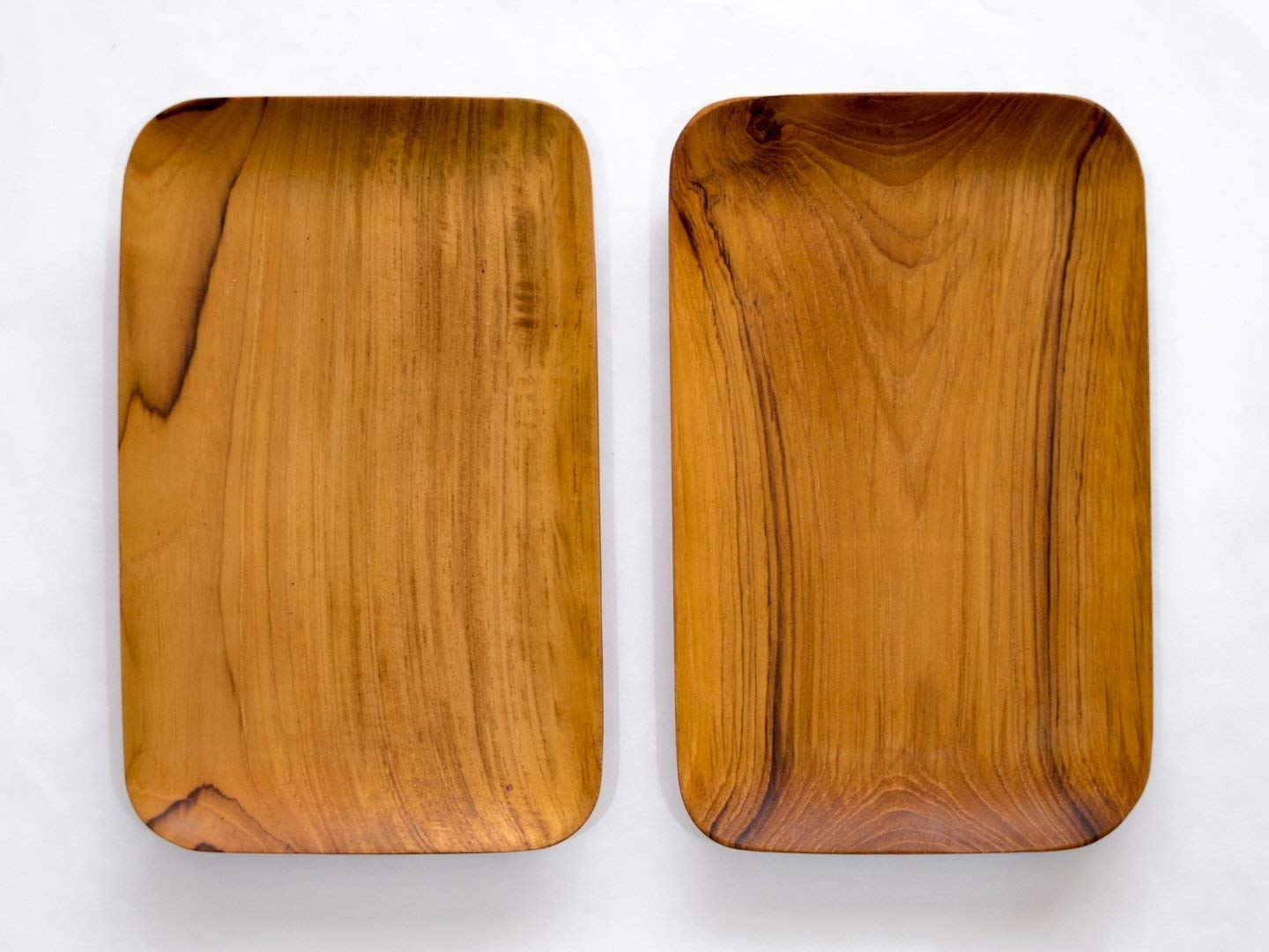 Bali Harvest Set of 2 Handmade Wooden Rectangle Plates | Premium Quality Teak Root Wood | Tray | Salad Sushi Server Plate | Eco Friendly | Vegan Gift | Natural Finishing