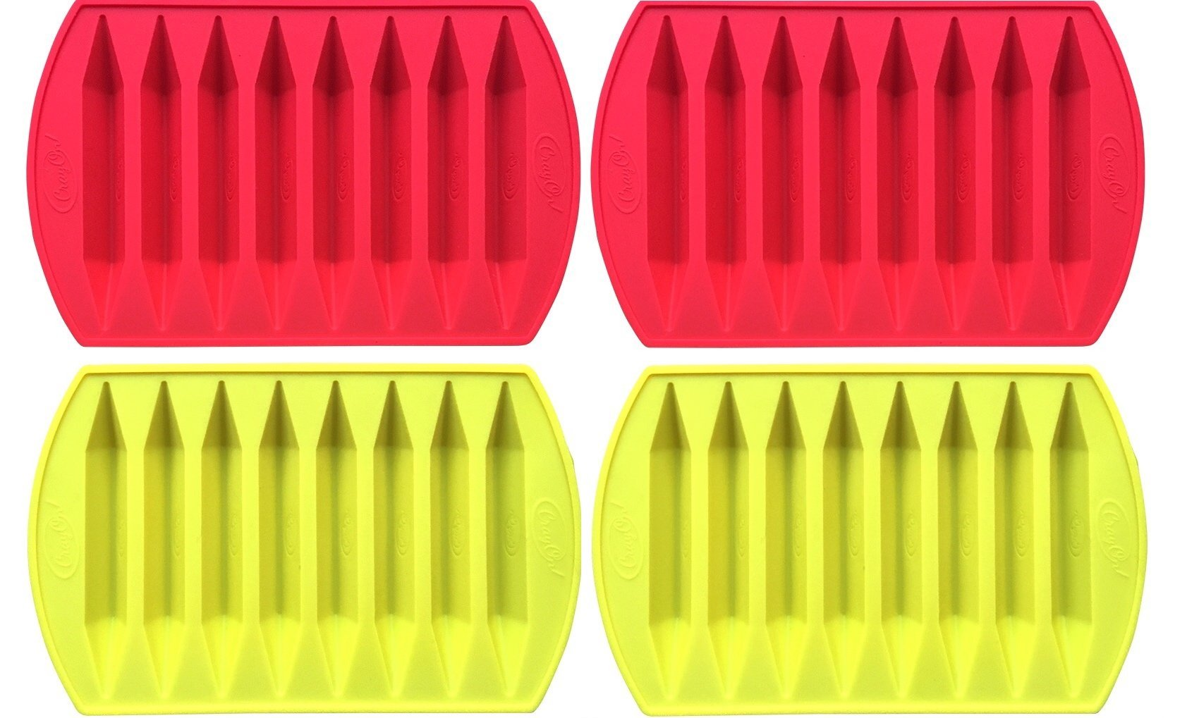 CrayOn 4 Double Tipped, Triangular Silicone Crayon Molds (Makes 32 Recycled Crayons Total) by My Fruit Shack