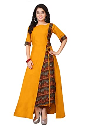 ce75ea912be Om Sai Latest Creation Women s Stitched Half Sleeve Rayon   Cotton Printed  Anarkali Kurti  Amazon.in  Clothing   Accessories
