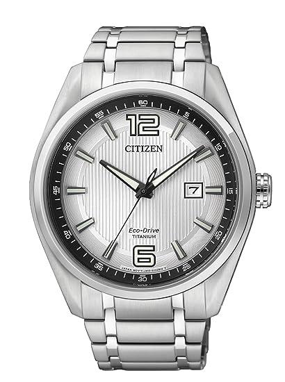 Citizen AW1240-57B - Reloj de Cuarzo para Hombre, con Correa de Titanio, Color Plateado: Amazon.es: Relojes
