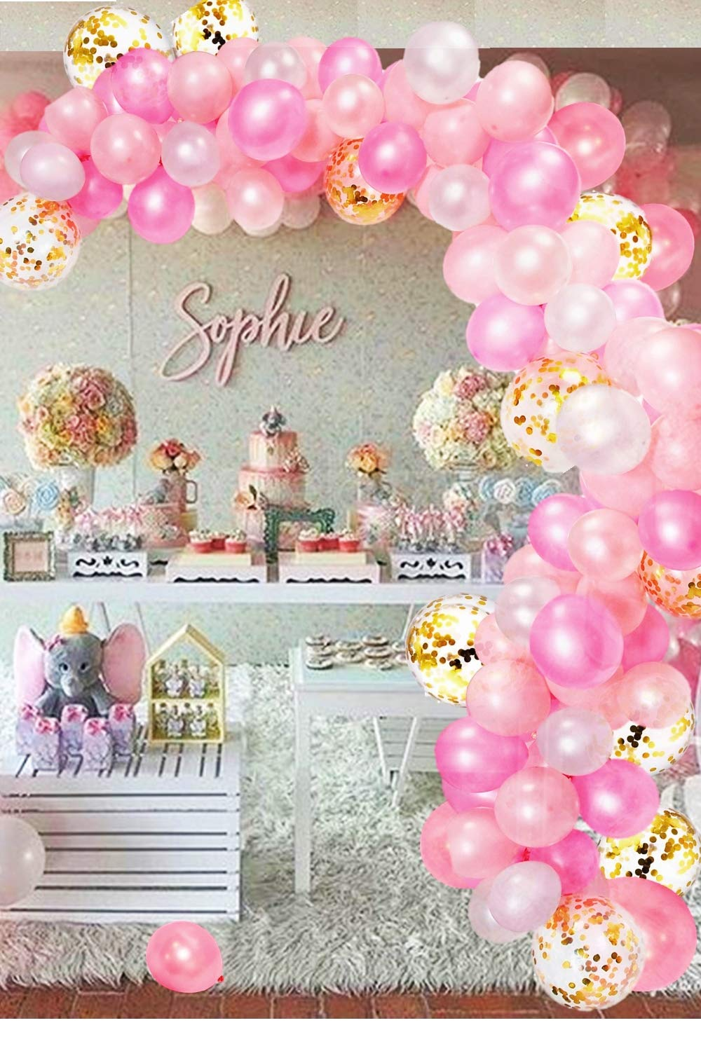 CADNLY Pink Balloon Garland Kit - 115-Piece White Pink and Gold Balloons for Pink Birthday Decorations Pastel Pink Baby Girl Balloon Arch for Princess Birthday Party Supplies Baby Shower Decorations for Girl