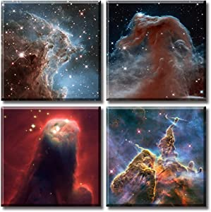 """Nebula Galaxy Wall Art Painting Canvas Prints 12"""" x 12"""" x 4 Panel Outer Space Starlight Modern Artwork Pictures Cosmic Astronomy Posters Home Decor Living Room Office Stretch and Frame Ready to Hang"""