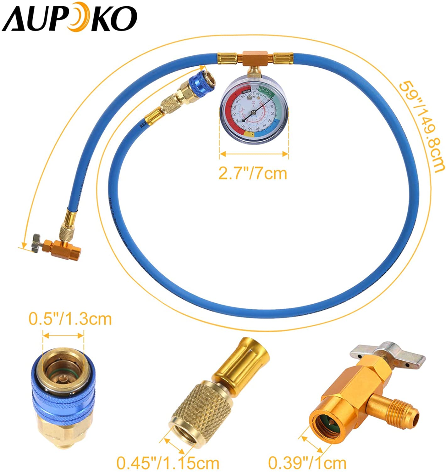 Aupoko R134A Refrigerant Recharging Hose Kit Low Pressure Gauge and 59 Recharge Hose AC Recharge Kit with 1//2/'/' Acme Male 1//4 SAE Female Puncture Type Can Tap Valve R134A Quick Couple