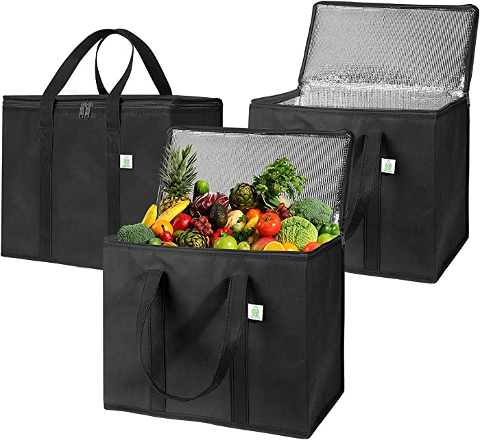 3 Pack Insulated Reusable Grocery Bag by VENO, Durable, Heavy Duty, Large Size, Stands Upright, Collapsible, Sturdy Zipper, Made by Recycled Material, Eco-Friendly (BLACK, 3)