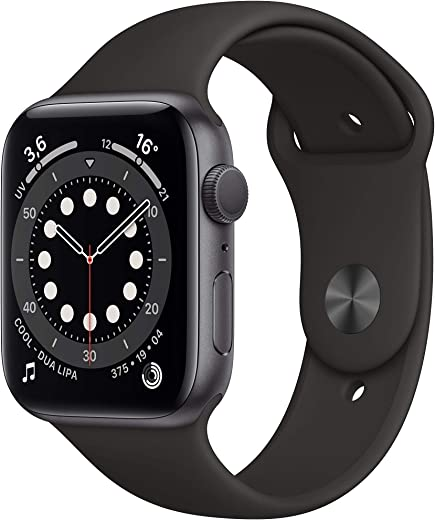 Novità AppleWatch Series6 (GPS, 44mm) Cassa in alluminio grigio siderale con Cinturino Sport nero