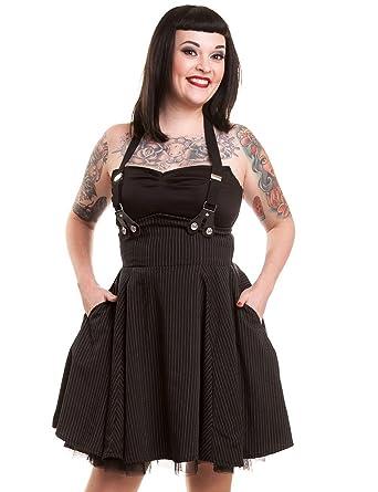 69ca5ea4edb Rockabella Lilith Pinstripe Pinafore Mini Swing Dress Black  Amazon.co.uk   Clothing