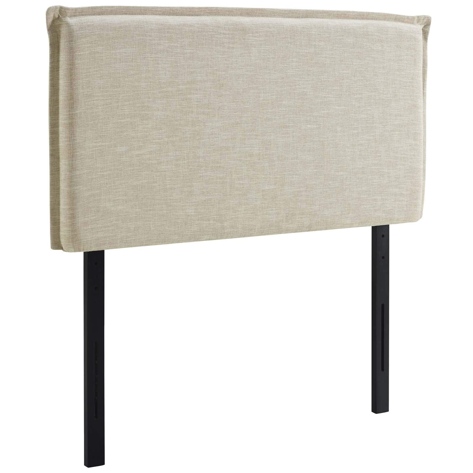 Modway Camille Linen Fabric Upholstered Twin Headboard in Beige with French Piping