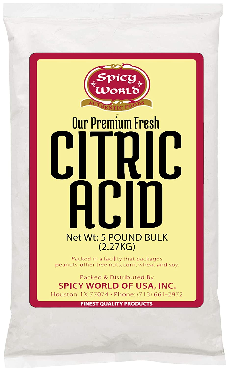 Pure Citric Acid, 5 Pound - Food Grade & Non-GMO- Natural Food Preservative, All Purpose Cleaning Agent, Beauty Ingredient- by Spicy World