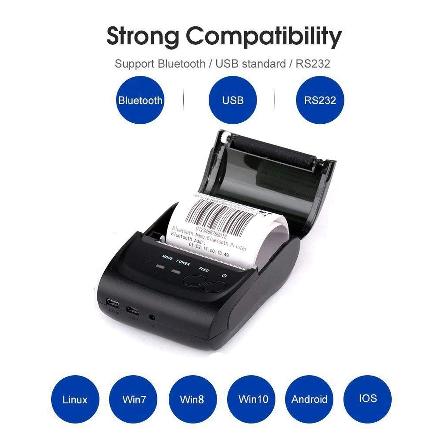 Bluetooth Receipt Thermal Printer,Wireless Portable Personal Bill Printer 2 Inches 58mm Mini Android Port-Black by MonoDeal (Image #1)