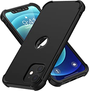 Designed for iPhone 12 Pro Case, ORETech Designed for iPhone 12 Case with [3 x Tempered Glass Screen Protector] 360° Heavy Duty Hard PC TPU Slim Phone Case for iPhone 12/iPhone 12 Pro Cover-6.1''Black
