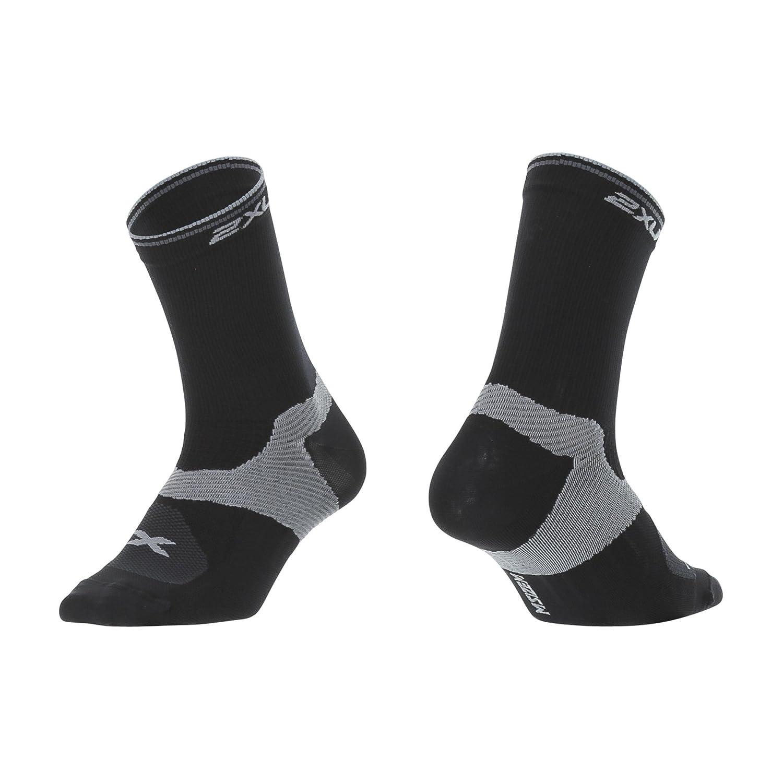2XU Mens Cycle Vector Socks Black//Moon Grey Small 2XU Pty Ltd MQ3791e