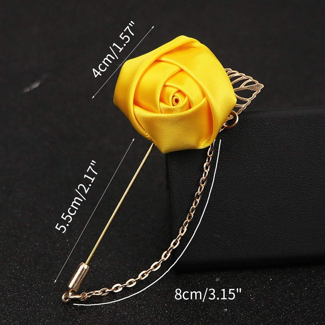 Dingtuo Mens Lapel Pin Rose Boutonniere Pin With Metal Chain For Suits Navy