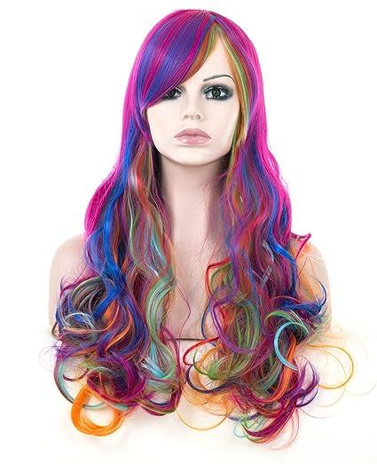 Spretty Long Curly ondulado pelucas Harajuku estilo arco iris de color para las mujeres las niñas