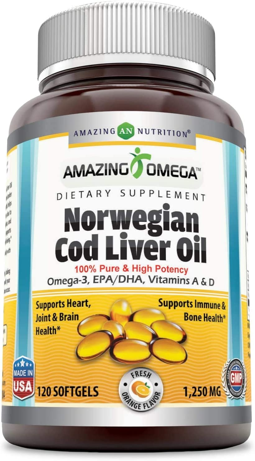 Amazing Omega Norwegian Cod Liver Oil 1250mg 120 Softgels -Extracted Under Strict Quality Standards from Around The Waters of Norway -Supports Heart, Brain, Joint, Bone & Immune Health*