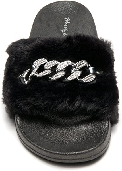 1008804bc Herstyle Women s SL-16110102 Faux Fur Slide Sandal with Chain Accent Black  9. Back. Double-tap to zoom