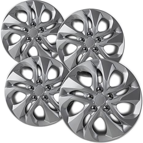 16 inch Hubcaps Best for 2010-2012 Nissan Sentra - (Set of 4) Wheel Covers 16in Hub Caps Silver Rim Cover - Car Accessories for 16 inch Wheels - Snap ...