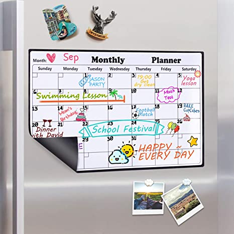 Homein Calendario Magnético de Nevera, Pizarra Planificador Mensual y Semanal de Menú, Recordatorio, Lista de la Compra, Estudio, Calentario ...