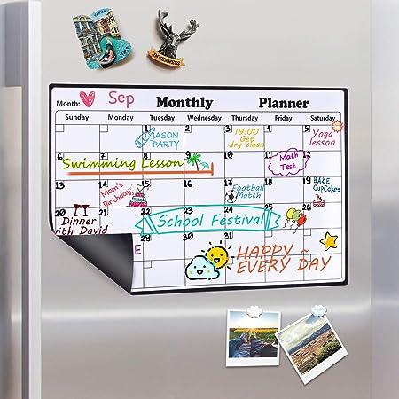 Homein Calendario mensual magnético, Lavable, para la Nevera ...