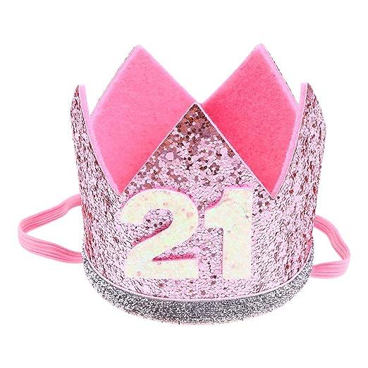 Amosfun cumpleaños Corona Sombrero 21 años Brillo Fiesta ...