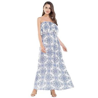 9ea3decde3 JTANIB Women s Strapless Boho Sexy Summer Beach Maxi Dress with Tassel