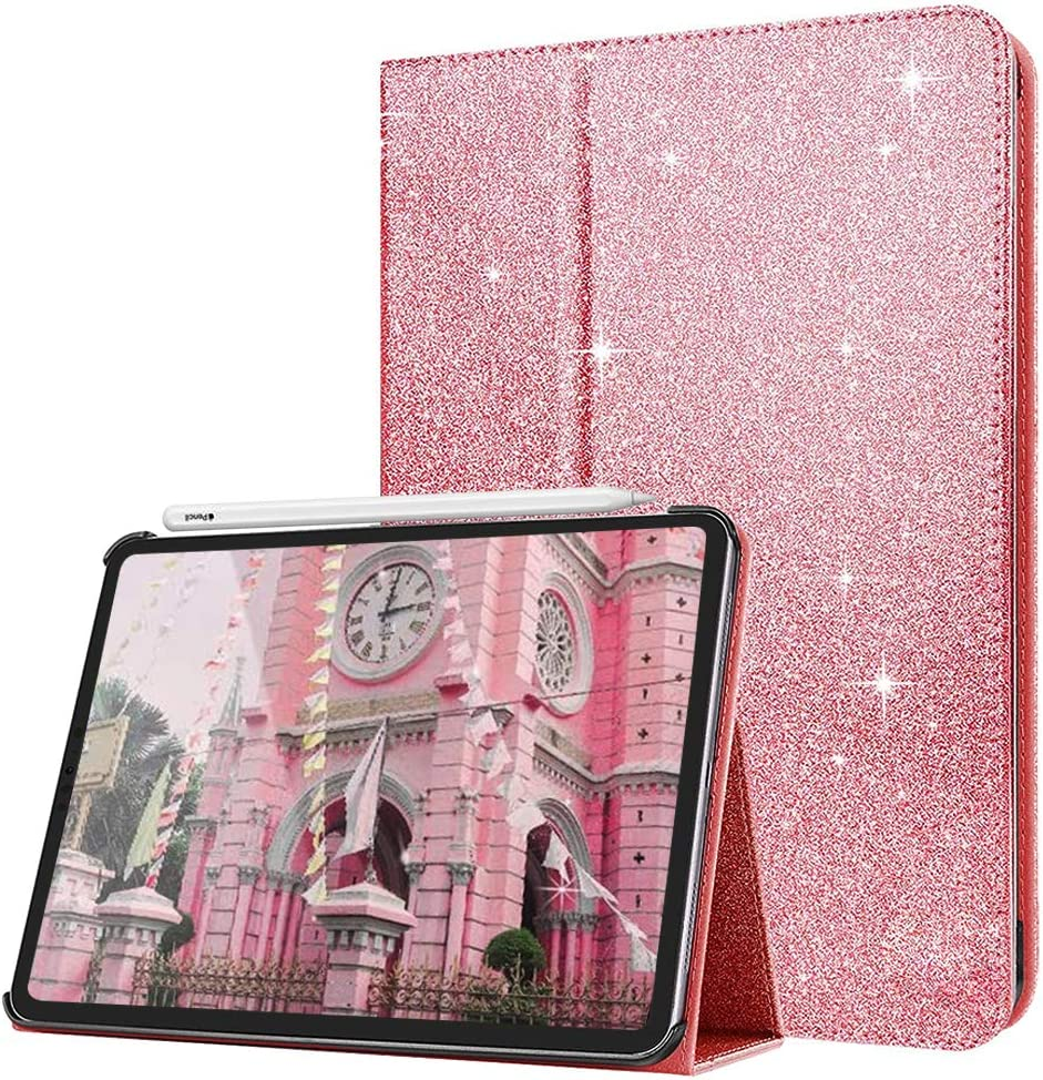 iPad Air 4th Gen 10.9-inch Glitter Case 2020, CASZONE Ultra Slim Sparkly PU Leather Foldable Stand [Magnetic Auto Sleep / Wake] Protective Smart Cover for iPad Pro 11 2020 / 2018, Pink