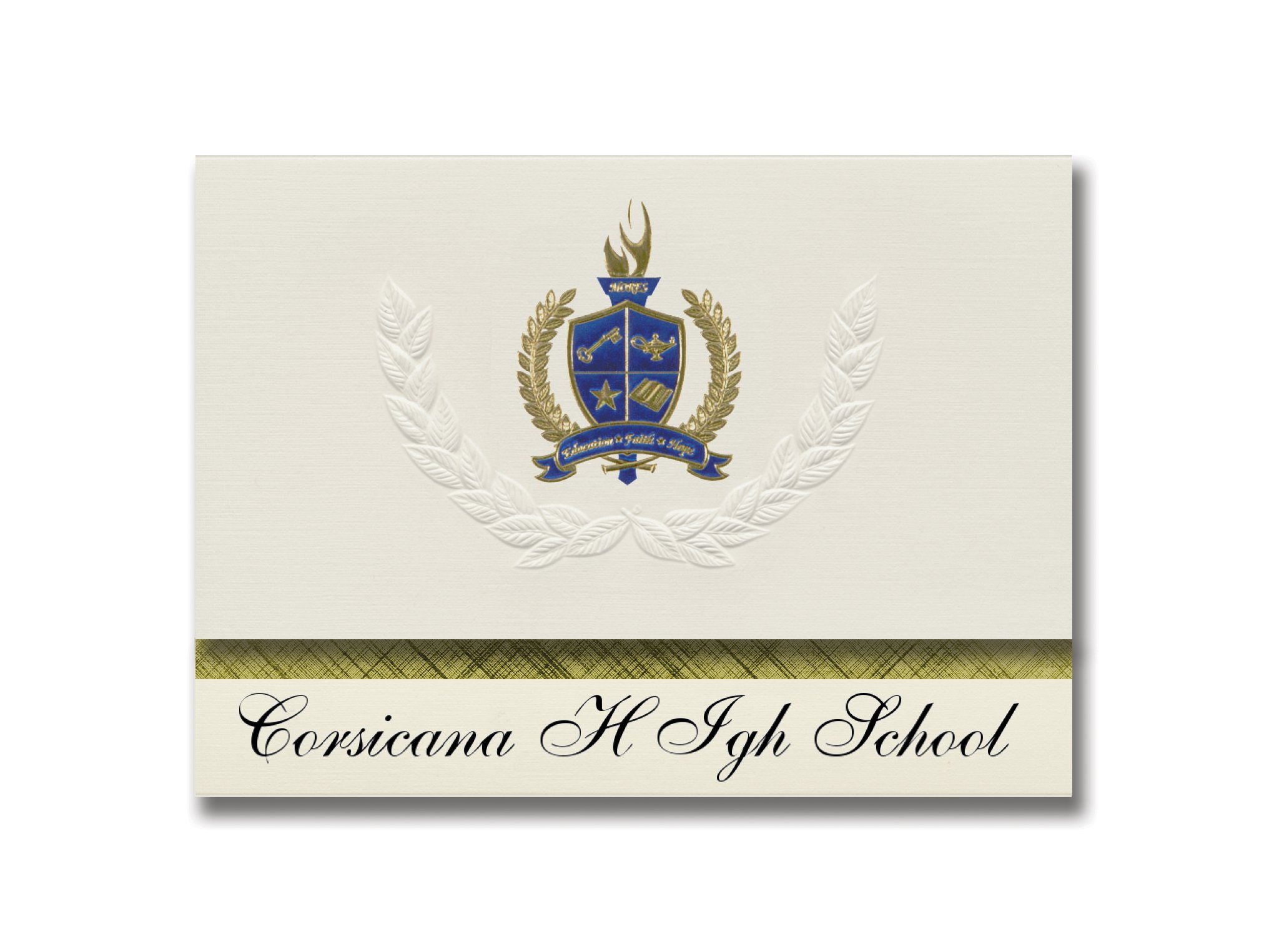 Signature Announcements Corsicana H Igh School (Corsicana, TX) Graduation Announcements, Presidential style, Elite package of 25 with Gold & Blue Metallic Foil seal