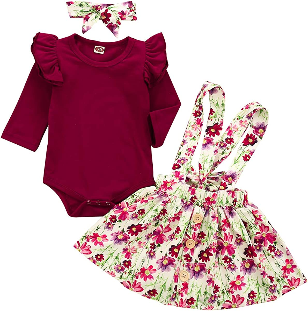 Floral Overall Skirt Infant Baby Girl Suspender Outfits 3Pcs Ruffles Short Sleeve Romper Headband Clothes Set