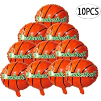 BinaryABC Basketball Balloons,Basketball Mylar Foil Balloons,Sports Theme Party Supplies,10Pcs(18 Inch)