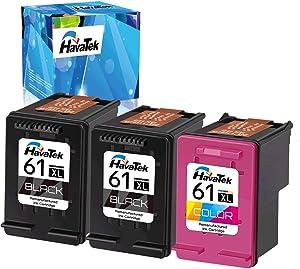HavaTek Remanufactured Ink Cartridges Replacement for HP 61 61XL Used for HP Envy 4500 5530 4502 5535 4501 OfficeJet 4630 4635 4632 Deskjet 2540 3050 3510 1000 2542 2541 Printer (2 Black, 1 Color)