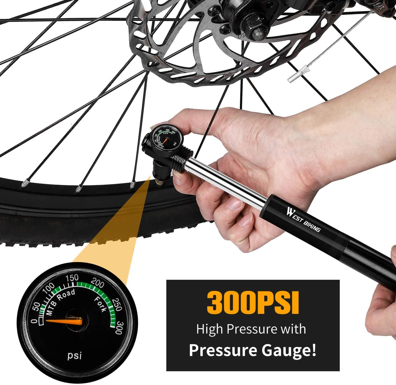 US Seller New Bike Frame-Fit Mini Compact Hand Pump w// Gauge Road MTB SL