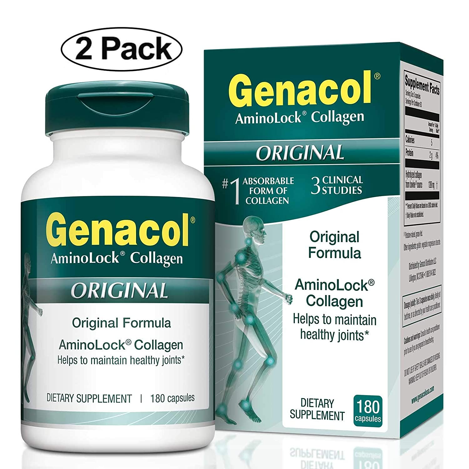 GENACOL Original Joint Supplements for Men & Women (180 Capsules) |Hydrolyzed Collagen Peptides for Healthy Joints, Cartilage, Bones, Tendon and ...