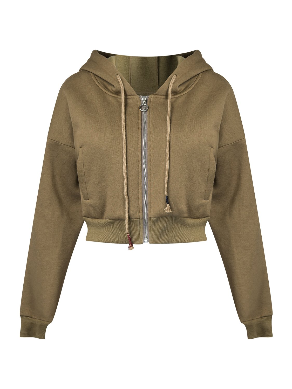 PERSUN Women's Loose Solid Zip Up Sweatshirt Drawstring Fleece Hoodie,Brown,XL by PERSUN (Image #4)