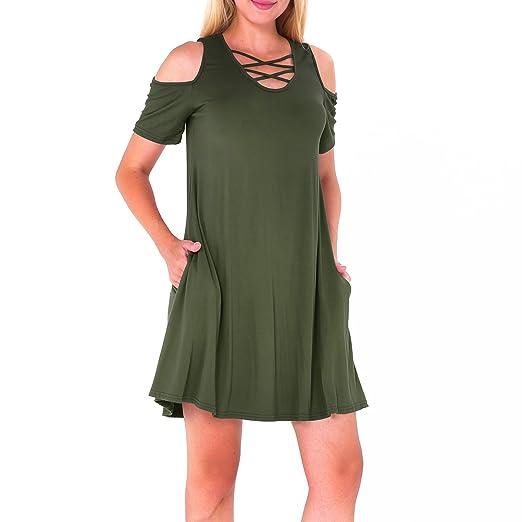 eb1045e1542 InMoo Women's Tshirt Dress Pockets Cold Shoulder Criss Cross V-Neck Casual  Sexy Plain Solid Tunic T-Shirt Swing Dress at Amazon Women's Clothing store: