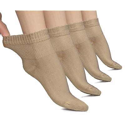 Hugh Ugoli Lightweight Women's Diabetic Ankle Socks Bamboo Thin Socks Seamless Toe and Non-Binding Top, 4 Pairs: Clothing
