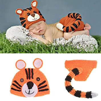 Amazon.com   Osye Baby Crochet Knitted Outfit Tiger Hat Costume Set  Photography Photo Props   Baby d4e1f5d2fcf
