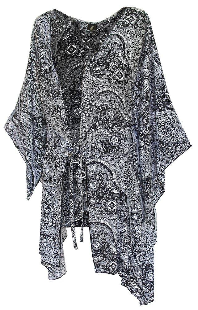 Fashion Fulfillment Womens Clothing Plus Size Kimono Tunic Cardigan, Kimono Sleeve, Plus Size 1X 2X 3X (One Size: 2X/3X, Black White Paisley) by Fashion Fulfillment (Image #4)