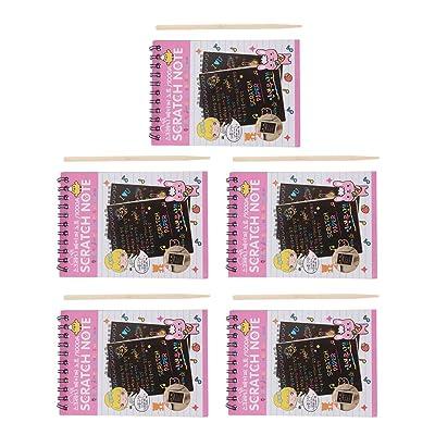 Homyl 5 Pieza Boceto de Papel Niño Raspado Dibujo 5x10 Hojas de Papel para rascar de tamaño A4 con Palos de 5x1 - Rosa: Juguetes y juegos