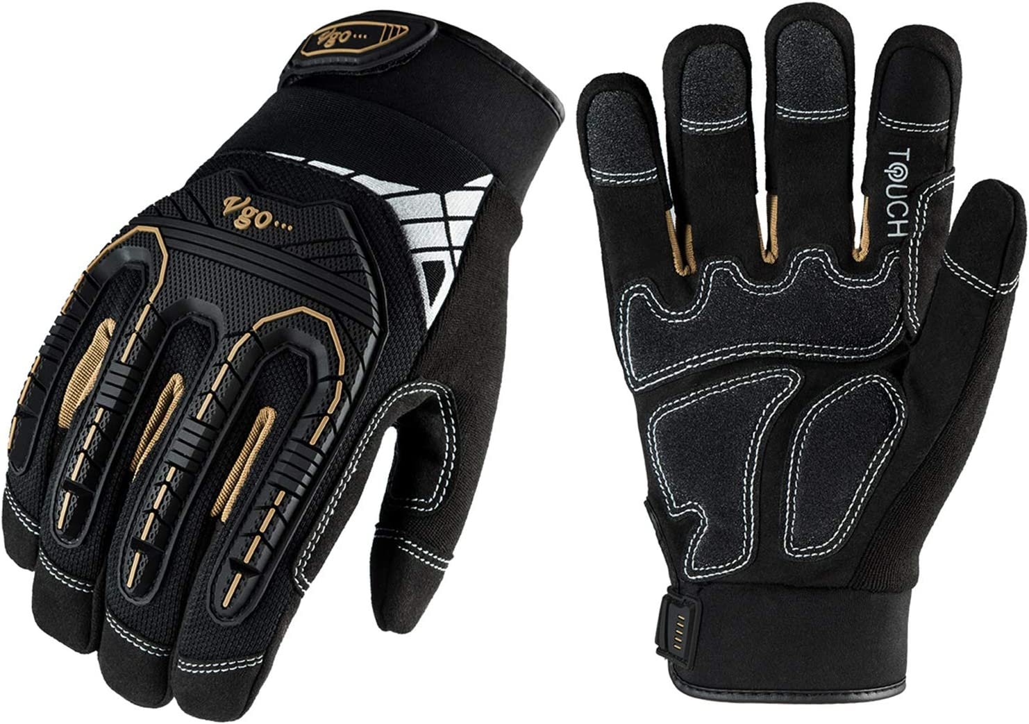 Vgo 1-Pair Heavy-Duty Synthetic Leather Work Gloves, Impact Protection Mechanic Gloves, Rigger Gloves, High Dexterity, Vibration Reduction, Touchscreen Capable (Size L, Black, SL8849) - -