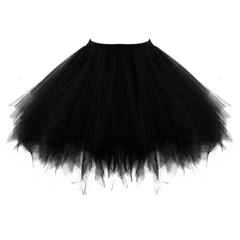 Women's Short Puffy Black Tutu Petticoat