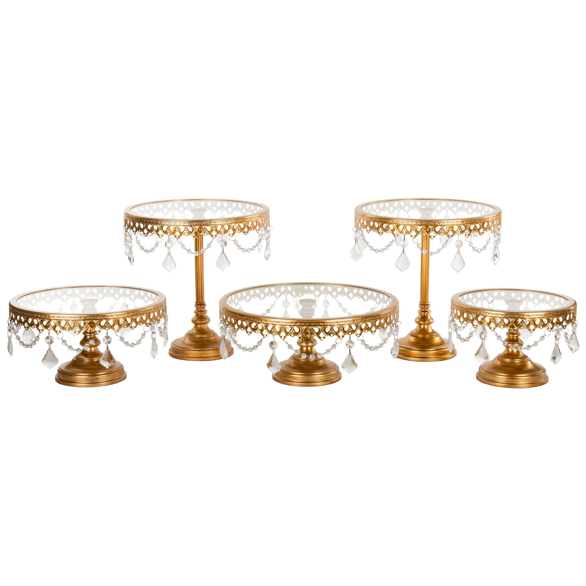 Victoria Gold Cake Stand Set of 5, Round Glass Plate Metal Dessert Cupcake Pedestal Wedding Party Display with Crystals