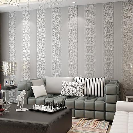 KINLO® Tapete Vlies Wand Silber Grau 100Mx53cm Top Tapete Barock Tapete  Muster Tapete Streifen Wanddeko für Wohnzimmer, Schlafzimmer, Büro  Wandtatoo 2 ...